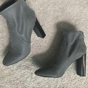 BR grey suede booties 3 1/2 in heel